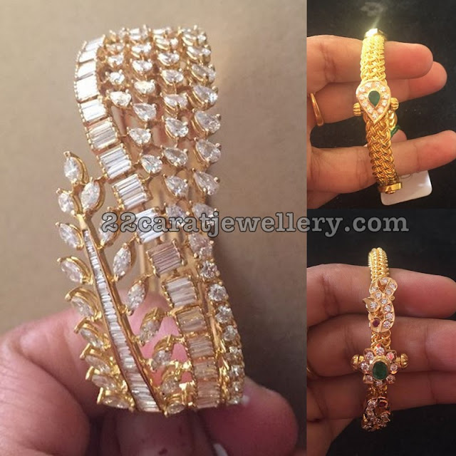 Antique Gold Kada and Broad Diamond Bangle