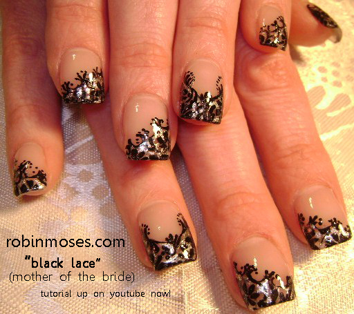 Black Lace Nail Art Beautiful Wedding Bridal Mother Of The Bride Perfect Nails