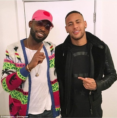 Footballer, Neymar Spotted With Rapper Tinie Tempah At London Restaurant For Nike Campaign