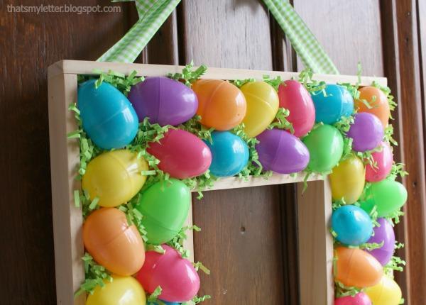 diy plastic egg and scrap wood wreath