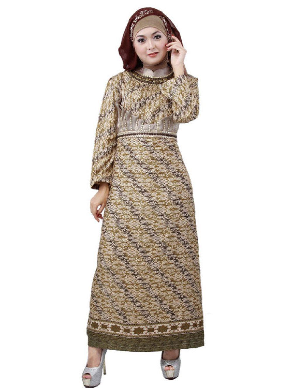 Model Gamis Cantik Baju Gamis Batik Sarimbit Coklat Foto Baju