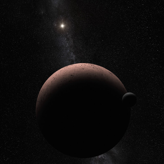 Artist's Impression of the Dwarf Planet Makemake and Its Moon S/2015 (136472) 1