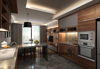 oturma bölümlü mutfak tasarımı