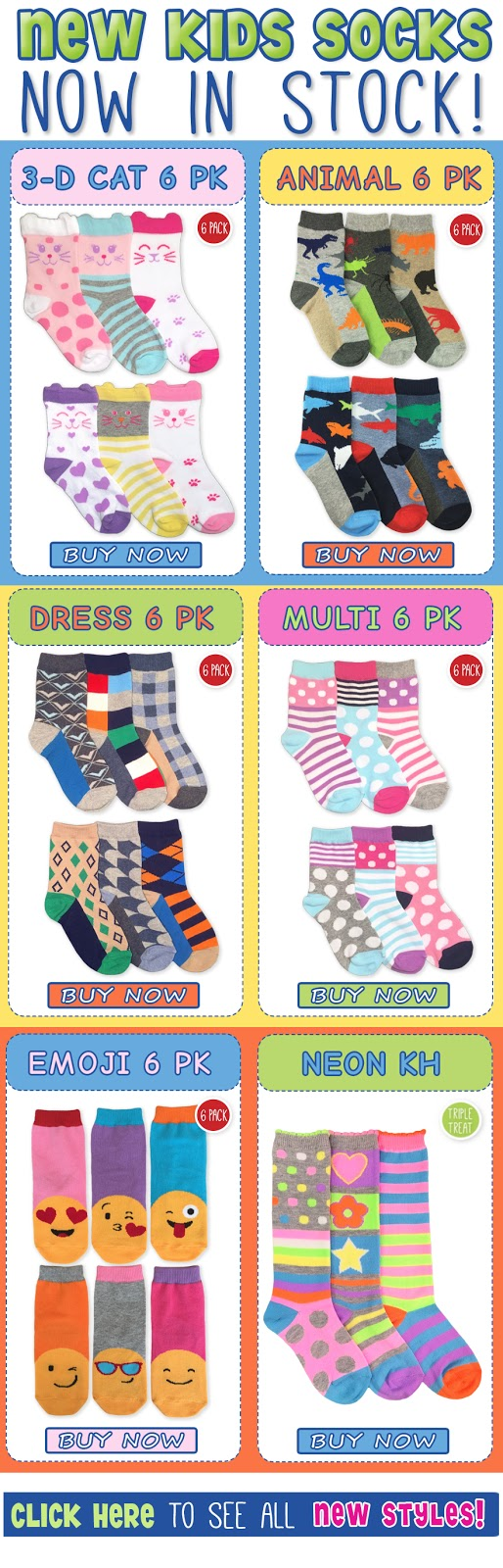 Jefferies Socks New Girls and Boys SOcks