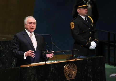 """Temer defiende en la ONU la democracia """"sólida"""" de Brasil"""