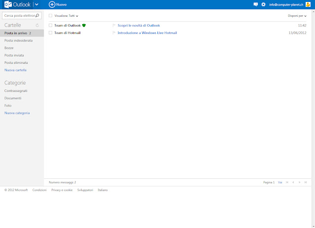 Nuovo design di Hotmail.com
