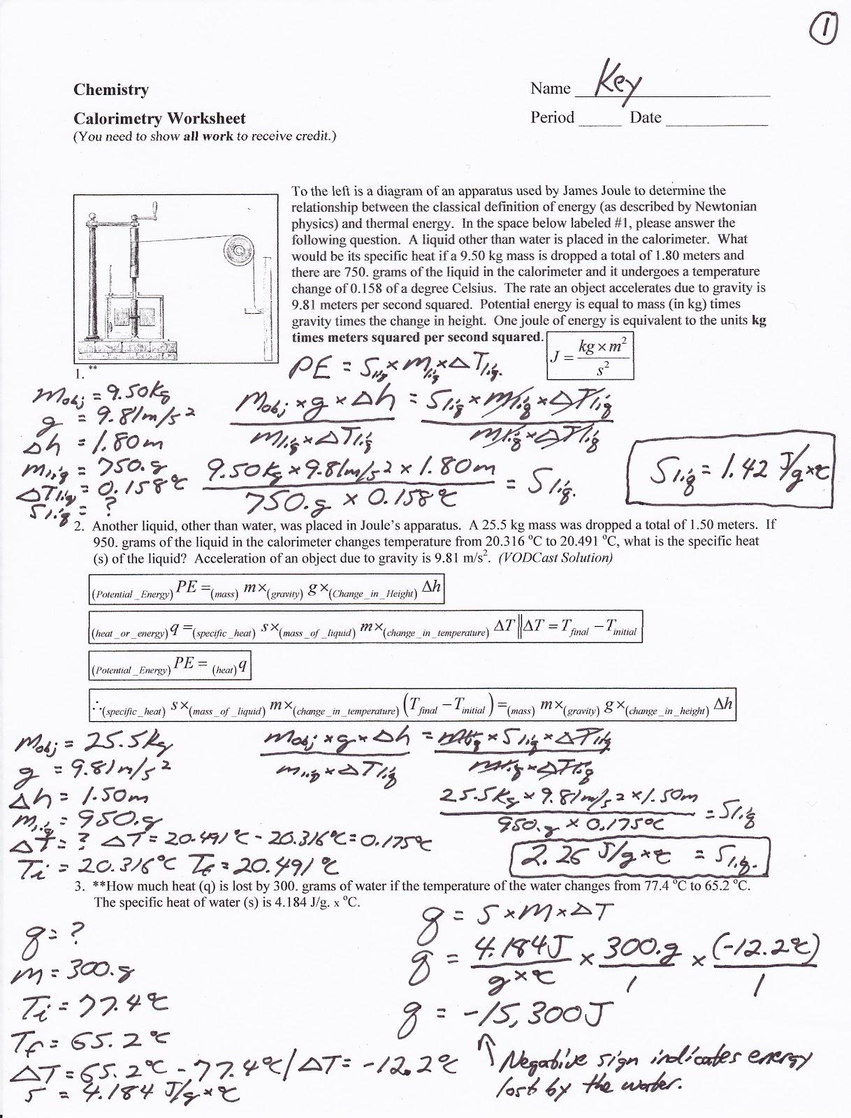 Calorimetry Lab Answer Key