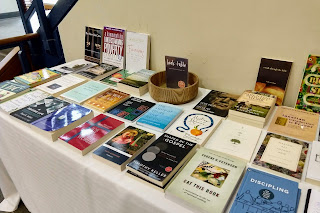 book table at All Souls Church, Seattle, Washington