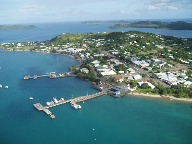 An aerial photo of Thursday Island, in the Torres Strait, Queensland.