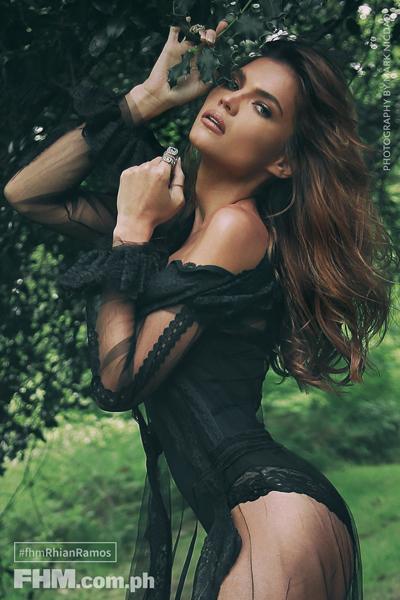 Rhian Ramos wears black lingerie