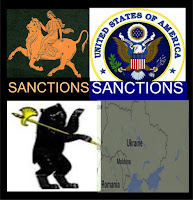 Graphic of Europa bull representing the EU, with Sanctions captioned underneath the bull, and next to it the US eagle emblem with  the caption sanctions underneath the emblem and below the EU bull is the Russian bear with a weapons walking toward a map of Ukraine, representing EU, US Russia Sanctions.
