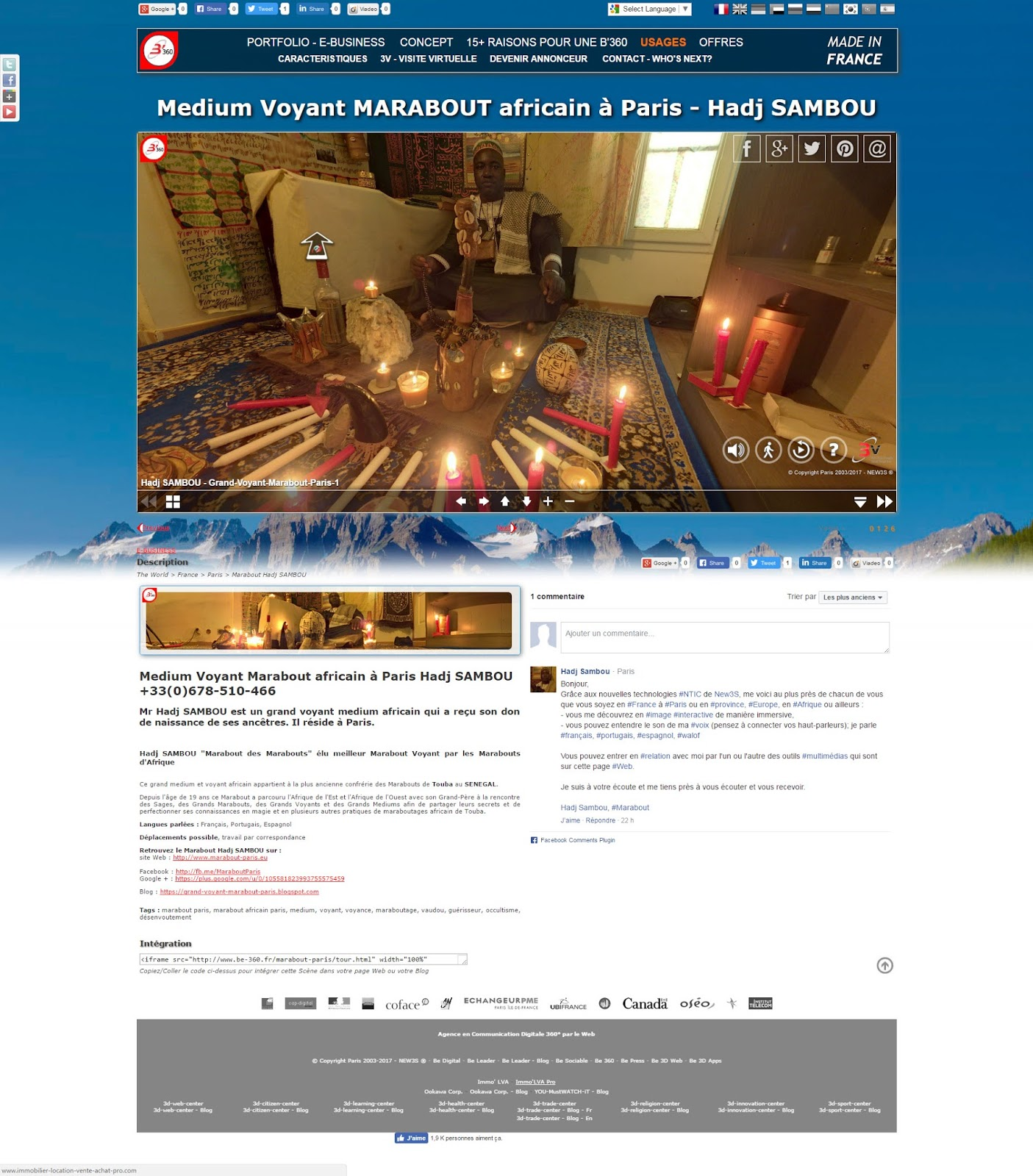Hadj SAMBOU Grand Medium Voyant Marabout africain à Paris