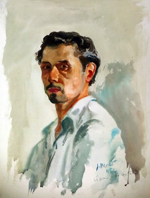 José Miret Aleu, Self Portrait, Portraits of Painters, Fine arts, Portraits of painters blog, Paintings of José Miret Aleu, Painter José Miret Aleu