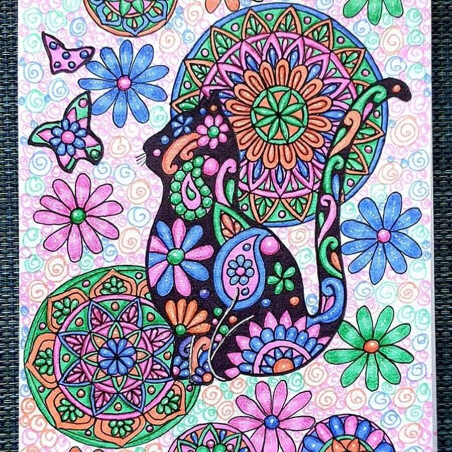 13-Cat-and-Butterflies-Vanita-Vaz-Mandala-and-Doodle-www-designstack-co