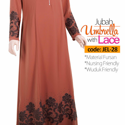 Jubah Umbrella Lace JEL-28 Persian Brown Depan 13