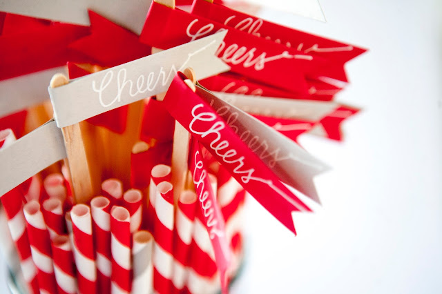 wedding paper straws and wooden stirrers
