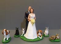 statuetta torta nuziale personalizzata cani gatti cane cavalier king orme magiche