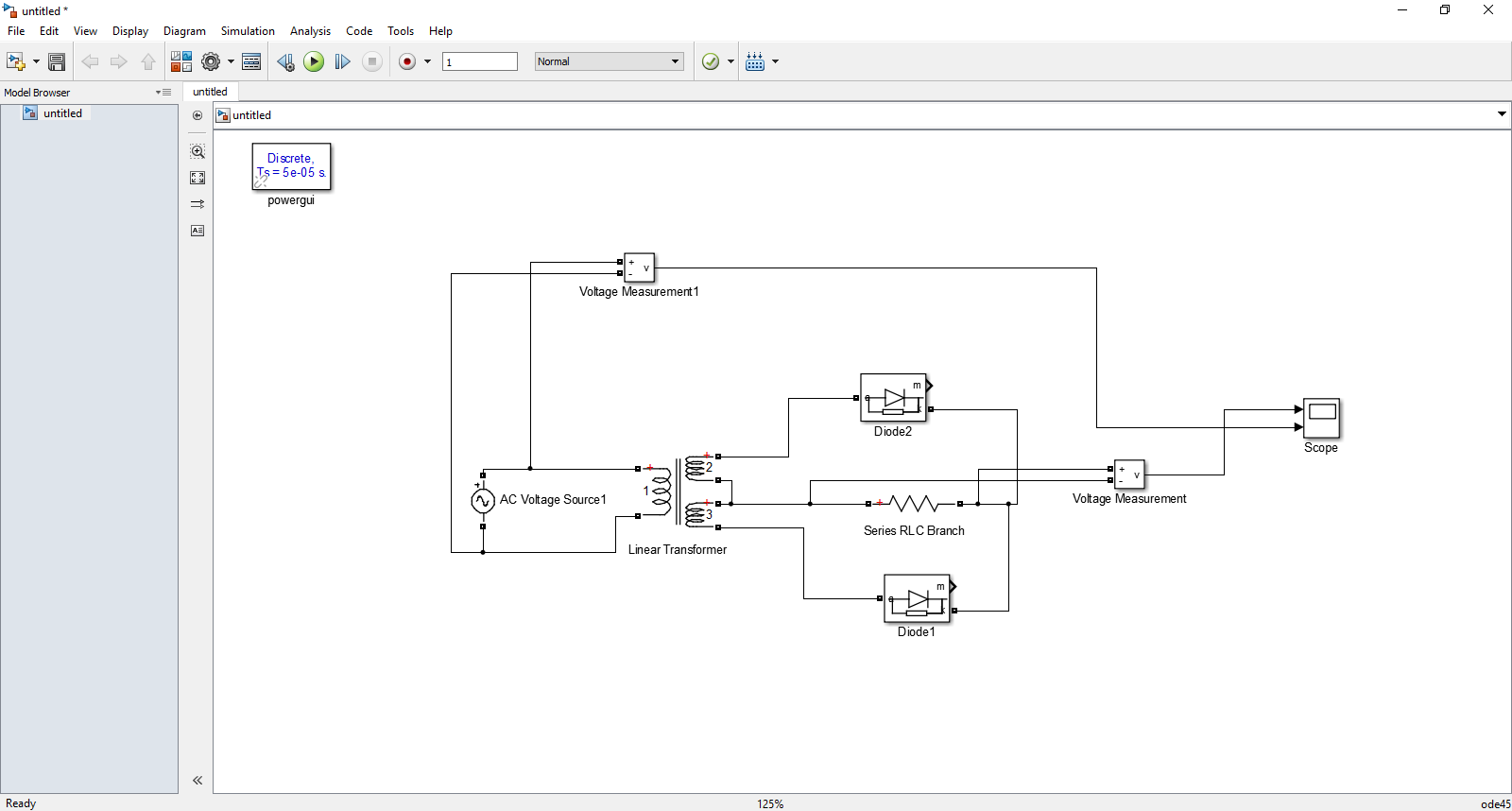 hight resolution of tuf of full wave rectifier tuf power output power rating of the transformer pac vrms irms 8 2 tuf 0 8105 matlab simulation circuit diagram