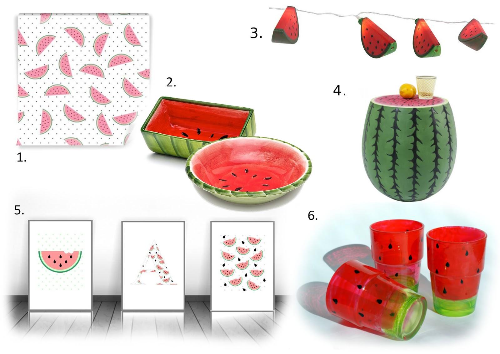dodatki do wnętrz z motywem arbuza
