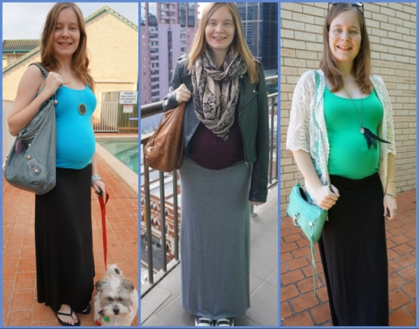 AwayFromBlue | Plain Maxi Skirts colourful tops pregnancy outfits