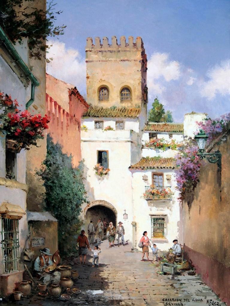 Cuadros modernos pinturas y dibujos paisajes costumbristas espa oles al leo - Casas de famosos en espana ...