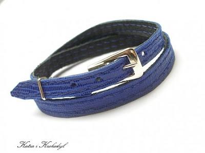 bransoletka skóra naturalna skórzana bransoletka zapinana chabrowa niebieska