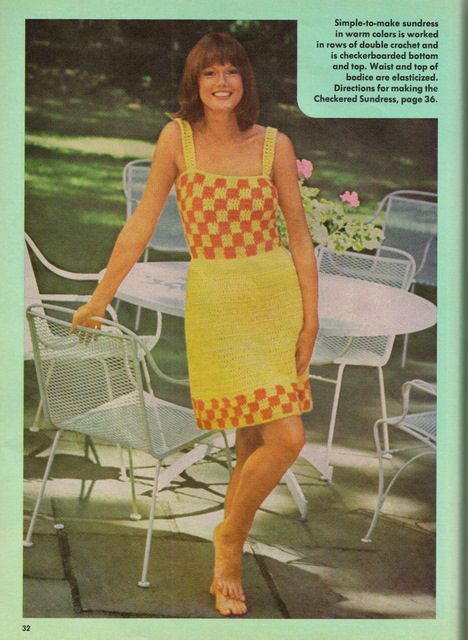 The Vintage Pattern Files: Free 1970s Crochet Pattern  - Checkered Sundress