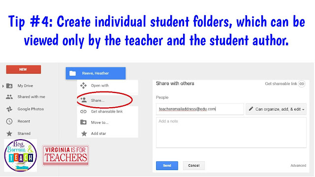 Creating student folders to share exclusively with the teacher on Google Drive