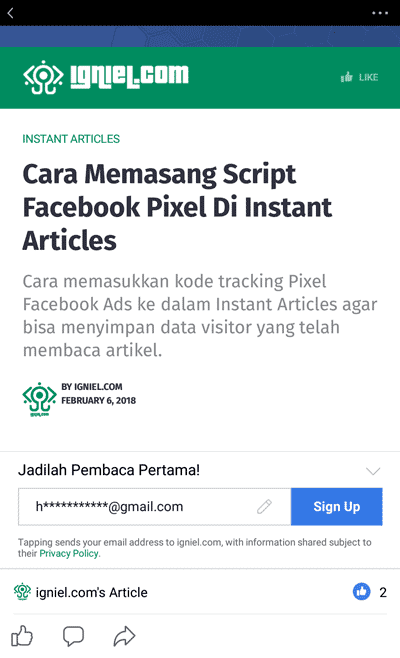 Cara Membuat Kotak Email Newsletter Di Instant Articles