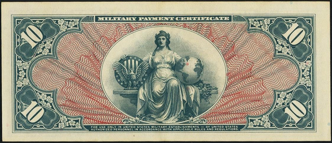 10 Dollars Military Payment Certificate Series 591world Banknotes