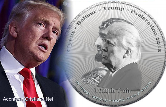 Moneda con rostro de Donald Trump