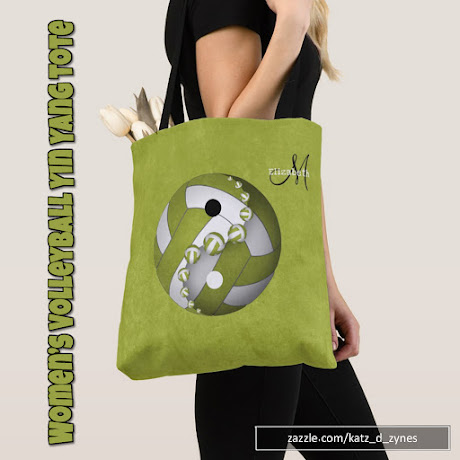 Women's Lime Yin and Yang Volleyball Tote Bag with custom monogram and your choice of ANY background color