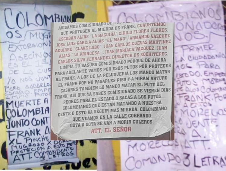 """""""Limpia tu basura, vienen días peores para el estado o sacas a los p..tos colombianos"""" Amenazan a extorsionadores Colombianos en Morelos."""