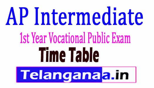 AP Inter 1st year Vocational Exam Time Table 2018 AP Jr.Inter Vocational Time Table 2018 Download