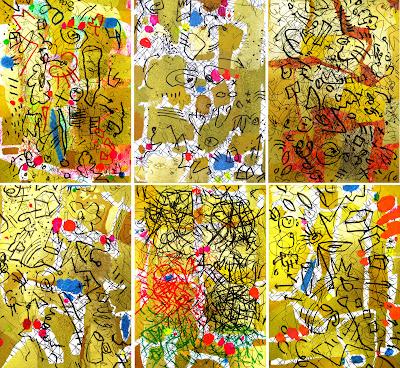 Hamburg Kunst Malerei, Zeichen, Kleinformatige Bilder von Dagmar Mahlstedt, Din A4, DIN A5, moderne abstrakte Bilder