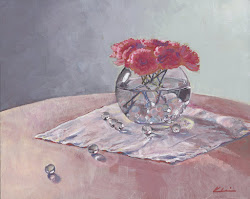 "CARNATIONS IN A ROUND GLASS BOWL; casein; 8""x10""; 2017 Mary Nagel Klein"