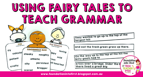 Using fairy tales to teach grammar concepts to early years students. Gingerbread Man, Red Riding Hood, Alice in Wonderland, Jack and the Beanstalk. Teacher ideas and hacks for teaching English language arts.