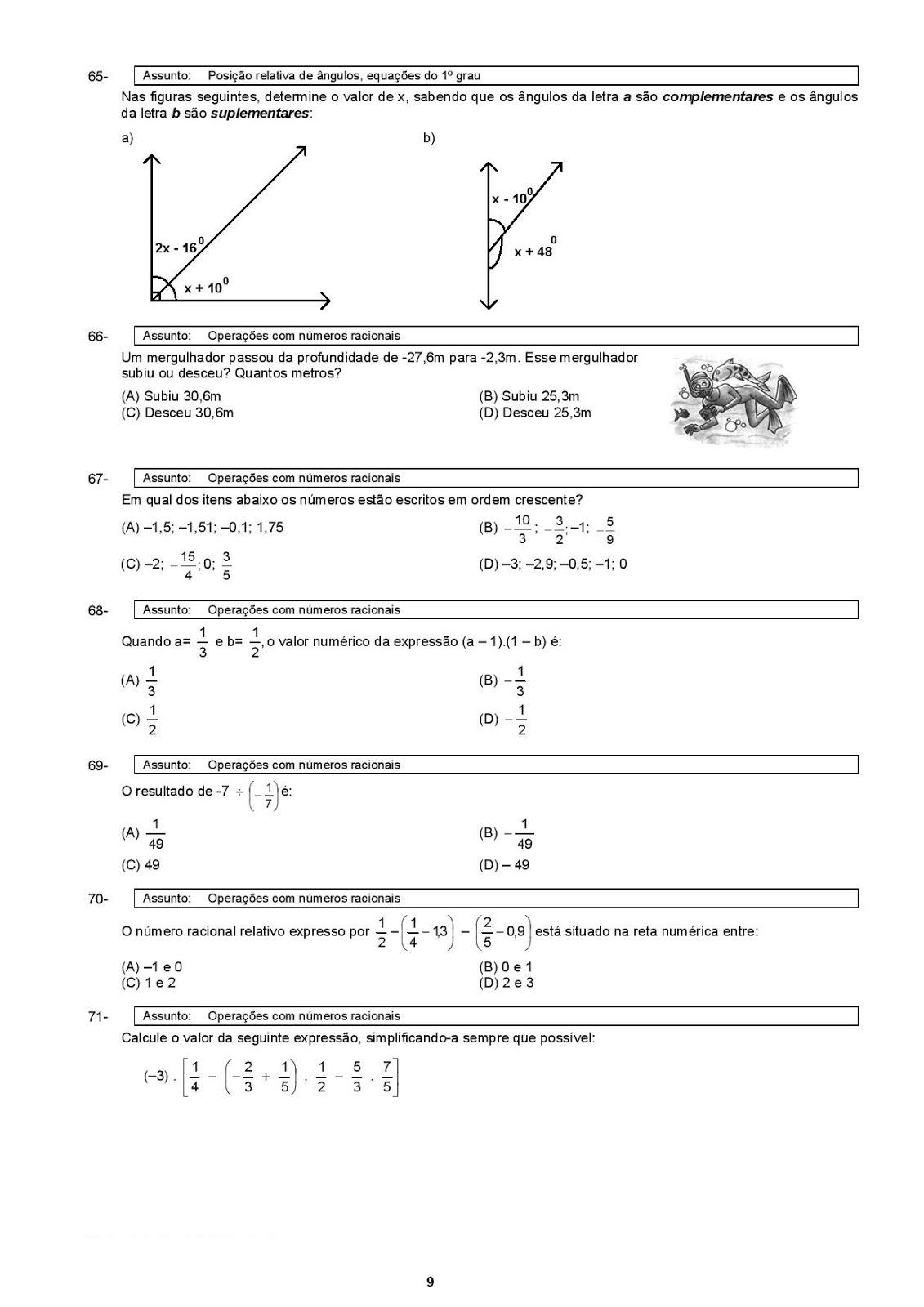 Portal Escola Matematica 7º Ano Atividades Exercicios Testes Provas Avaliacoes Com Gabarito I