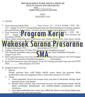 Program Kerja Wakasek Sarana Prasarana SMA - download file proker format doc 2016