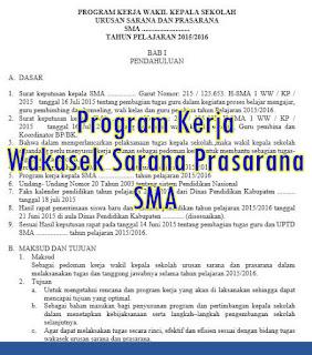 Program Kerja Wakasek Sarana Prasarana SMA - download file proker format doc 2016