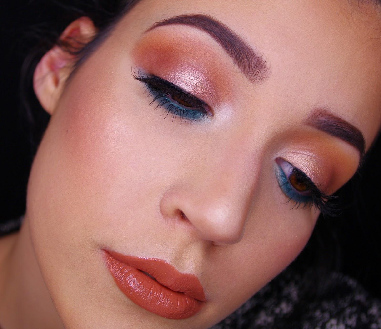 TEAL & CARAMEL | pop of color eye look