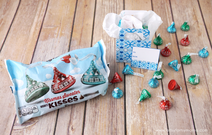 Free Printable Christmas Sweater Gift Boxes filled with Hershey Kisses!