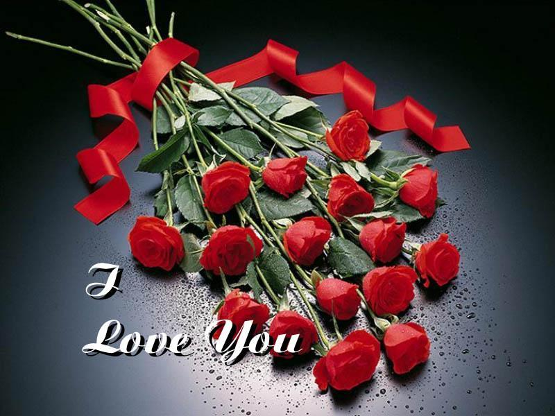 Love Pictures I Love You With Beauitful Bunch Of Roses