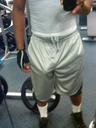 Gear Bulges Freeballing In Shorts