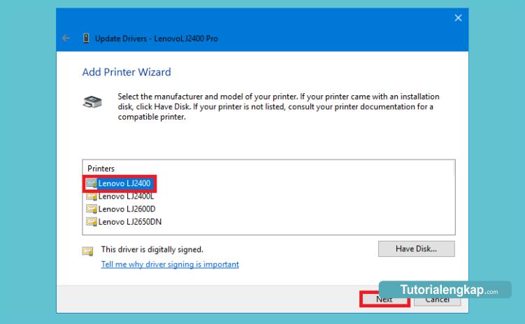 tutorial cara memilih driver printer sesuai dengan type printer yang digunakan