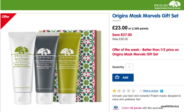 image of boots website christmas offer on origins skincare