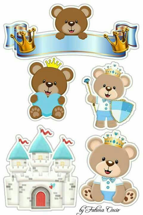 photograph relating to Teddy Bear Printable referred to as Teddy Go through Prince Absolutely free Printable Cake Toppers in just Gentle Blue