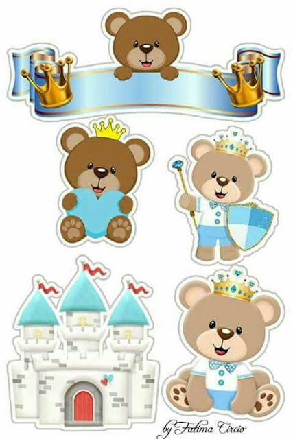 Osito Príncipe en Celeste: Toppers para Tartas, Tortas, Pasteles, Bizcochos o Cakes para Imprimir Gratis.