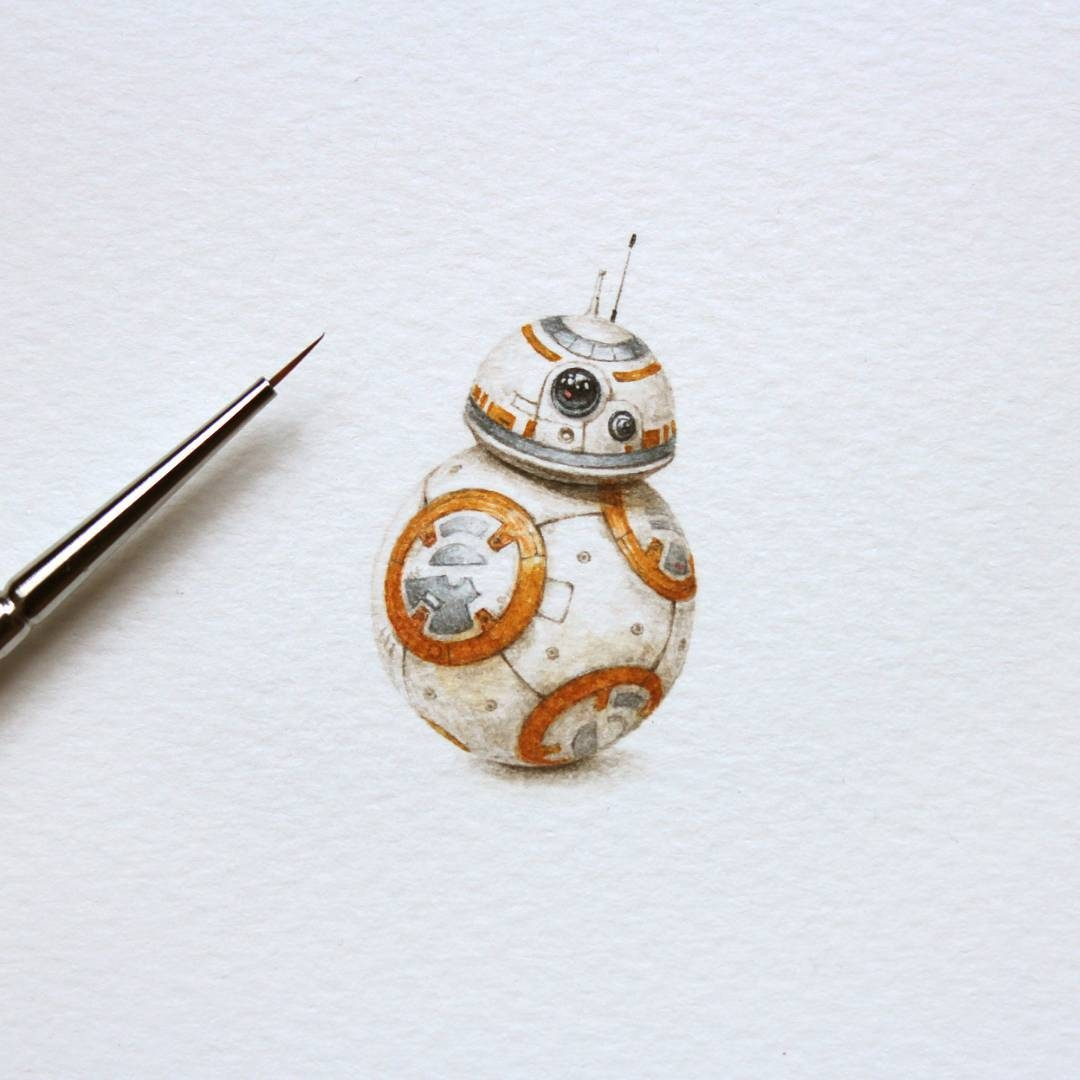 10-BB-8-Droid-Julia-Las-Tiny-Animal-Watercolor-Paintings-and-Other-Miniatures-www-designstack-co