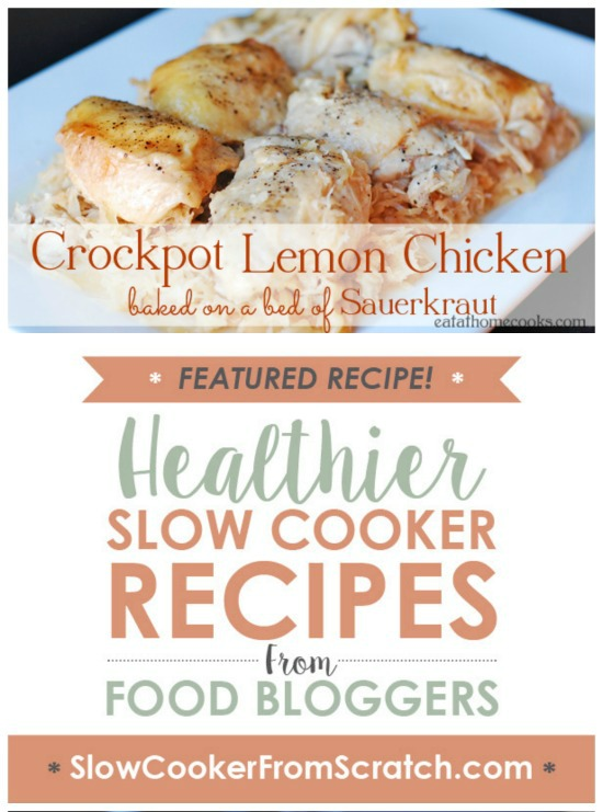 CrockPot Lemon Chicken baked on a bed of Sauerkraut from Eat at Home